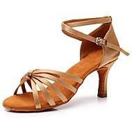 billige Sko til latindans-Dame / Jente Sko til latindans Sateng Sandaler / Høye hæler Spenne Kubansk hæl Kan spesialtilpasses Dansesko Beige