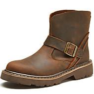 baratos Sapatos Femininos-Mulheres Pele Napa Inverno Vintage / Casual Botas Sem Salto Botas Cano Médio Marron