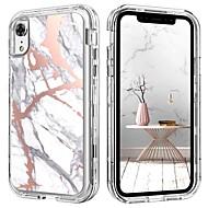 billiga Mobil cases & Skärmskydd-fodral Till Apple iPhone XR Stötsäker / Mönster / Wireless Charging Receiver Case Fodral Marmor Hårt TPU / PC för iPhone XR