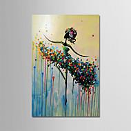 billiga Abstrakta målningar-Hang målad oljemålning HANDMÅLAD - Abstrakt / Människor Moderna Duk