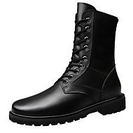 baratos Sapatos Masculinos-Homens Coturnos Couro / Pele Inverno Vintage / Formais Botas Manter Quente Botas Cano Médio Preto