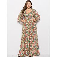 Mujer Tallas Grandes Playa Chic de Calle Corte Ancho Corte Swing Vestido - Estampado, Floral Maxi Escote en V Profunda / Sexy