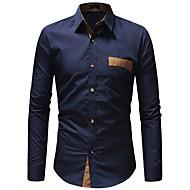 Hombre Básico Trabajo Camisa Delgado Bloques Blanco XL / Manga Larga