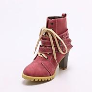 baratos Sapatos Femininos-Mulheres Fashion Boots Couro Ecológico Outono & inverno Botas Salto Robusto Ponta Redonda Botas Cano Médio Tachas Amarelo / Fúcsia / Azul