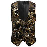 Men's Party / Club Luxury / Vintage Spring / Fall / Winter Regular Vest, Floral V Neck Sleeveless Cotton / Spandex Print Gold / Silver L / XL / XXL / Business Casual / Slim