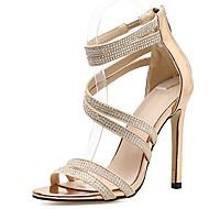 baratos Sapatos Femininos-Mulheres Saltos empilhados com tiras Sintéticos Verão Minimalismo Sandálias Salto Agulha Gliter com Brilho Preto / Bege / Festas & Noite