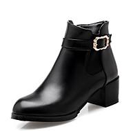 billige -Dame Fashion Boots PU Vinter Støvler Kraftige Hæle Lukket Tå Ankelstøvler Hvid / Sort