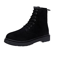 Women's Comfort Shoes Suede Fall Boots Chunky Heel Booties / Ankle Boots Black / Pink / Khaki