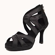 Dámské Boty na latinskoamerické tance Satén Sandály / Podpatky Přezky Kubánský Obyčejné Taneční boty Černá