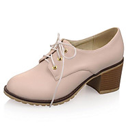 Dame PU Forår Oxfords Lave hæle Lukket Tå Hvid / Beige / Lys pink