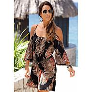 Women's Daily Shift Dress Tropical Leaf High Waist Strap Black L XL XXL / Sexy