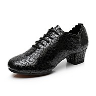 billige Jazz-sko-Dame Jazz-sko Lær Høye hæler Rynker Tykk hæl Kan spesialtilpasses Dansesko Svart / Lys Rød