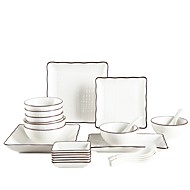 billiga Bordsservis-24-Piece Djupa tallrikar Flata tallrikar Serveringsfat servis Porslin Keramisk Ny Design Häftig Kreativ