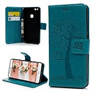 billiga Mobil cases & Skärmskydd-fodral Till Huawei P10 Lite Korthållare / med stativ / Lucka Fodral Uggla / Träd Hårt TPU för P10 Lite
