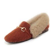 baratos Sapatos Femininos-Mulheres Pêlo Sintético Primavera & Outono Mocassins e Slip-Ons Sem Salto Ponta quadrada Penas Preto / Bege / Amarelo