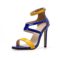 baratos Sapatos Femininos-Mulheres Couro Ecológico Verão Minimalismo Sandálias Salto Agulha Dedo Aberto Azul Real / Estampa Colorida