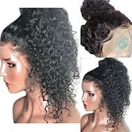 Synteettiset pitsireunan peruukit Kihara / Kinky Curly Tyyli Kerroksittainen leikkaus Lace Front Peruukki Musta Musta Tummanruskea Synteettiset hiukset 16 inch Naisten ja vauvan hiukset / Heat