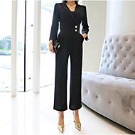Dames Dagelijks Standaard Overhemdkraag Zwart Jumpsuit, Effen M L XL Lange mouw
