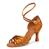 billige Sko til latindans-Dame Sko til latindans Sateng Høye hæler Kubansk hæl Dansesko Svart / Bronse / Naken