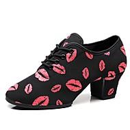 billige Kustomiserte dansesko-Dame Jazz-sko Elastisk stoff Oxford / Joggesko Tykk hæl Kan spesialtilpasses Dansesko Svart / Rød