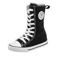baratos Sapatos de Menina-Para Meninas Sapatos Lona Primavera & Outono Conforto Botas Cadarço para Infantil Branco / Preto / Vermelho