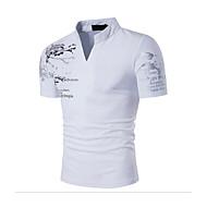 저렴한 -남성용 스탠드 슬림 프린트 - 티셔츠, 활동적 / 보호 스포츠 면 블랙 L / 짧은 소매 / 여름