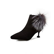 baratos Sapatos Femininos-Mulheres Couro Sintético Outono & inverno Botas Salto Sabrina Dedo Apontado Botas Curtas / Ankle Preto