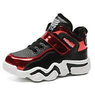 baratos Sapatos de Menino-Para Meninos Sapatos Pele Outono & inverno Conforto Tênis Caminhada Cadarço / Velcro para Infantil / Adolescente Vermelho / Azul