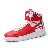 baratos Sapatos Masculinos-Homens Sapatos Confortáveis Pele Napa Inverno Esportivo / Casual Tênis Aumento de altura Estampa Colorida Branco / Preto / Vermelho