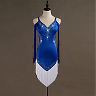cheap -Latin Dance Dresses Women's Training Spandex / Tulle Crystals / Rhinestones Long Sleeve High Dress