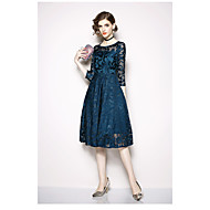 cheap -Ball Gown Bateau Neck Tea Length Lace Formal Evening Dress with Lace by LAN TING Express