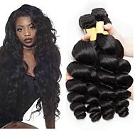 3 zestawy Włosy peruwiańskie Falowana Włosy naturalne Nieprzetworzone włosy naturalne Fale w naturalnym kolorze Doczepy Pakiet włosów 8-28 in Kolor naturalny Ludzkie włosy wyplata Jedwabisty