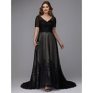 baratos -Linha A Decote V Cauda Escova Renda / Tule Evento Formal Vestido com Miçangas / Apliques de TS Couture®