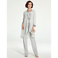 Pantsuit Ovalni izrez Do poda Šifon / Čipka Haljina za majku mladenke s Aplikacije po LAN TING BRIDE® / Wrap Included