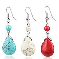 Damen Türkis Retro zwei stein Tropfen-Ohrringe Ohrringe damas Retro westlicher Stil Schmuck Rot / Blau / Beige / Weiß Für Alltag 1 Paar