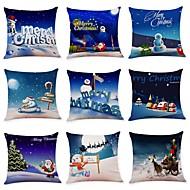 Χαμηλού Κόστους Σετ μαξιλαριών-9 τεμ Λινό Μαξιλαροθήκη, Art Deco / Διακοπών / Χριστούγεννα Χριστούγεννα