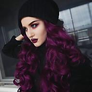 Syntetisk Lace Front Parykker Dame Bølget / Dyb Bølge Lilla Gratis del 180% Menneskelige hår tæthed Syntetisk hår 22-26 inch Klassisk / Dame / Sexet dame Lilla Paryk Lang Blonde Front Bright Purple