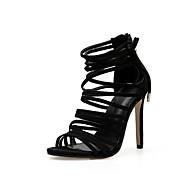 baratos Sapatos Femininos-Mulheres Camurça Primavera & Outono Minimalismo Sandálias Salto Agulha Dedo Aberto Preto