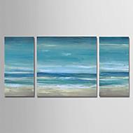 billiga Landskapsmålningar-Hang målad oljemålning HANDMÅLAD - Abstrakt / Landskap Moderna Duk / Tre paneler
