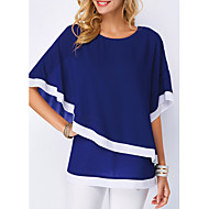 cheap -Women's Street chic Plus Size Batwing Sleeve T-shirt - Solid Colored Ruffle / Classic Style / Fashion / Spring / Summer / Fall / Winter