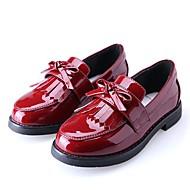 baratos Sapatos de Menina-Para Meninas Sapatos Couro Ecológico Primavera & Outono Sapatos para Daminhas de Honra Mocassins e Slip-Ons Laço / Mocassim para Infantil / Adolescente Preto / Vinho