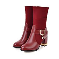 Γυναικεία Συνθετικά Φθινόπωρο & Χειμώνας Βίντατζ / Μινιμαλισμός Μπότες Κοντόχοντρο Τακούνι Στρογγυλή Μύτη Μπότες στη Μέση της Γάμπας Μαύρο / Κίτρινο / Μπορντώ