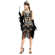 cheap -The Great Gatsby Vintage 1920s Costume Women's JSK / Jumper Skirt Green / Black+Sliver / Golden+Black Vintage Cosplay Other Material Sequin Party Prom Sleeveless Sleeveless V Wire Medium Length