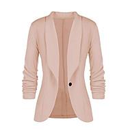 여성용 일상 모든계절 & 가을 보통 블레이져, 솔리드 셔츠 카라 긴 소매 폴리에스테르 네이비 블루 / 옐로우 / 와인 XL / XXL / XXXL
