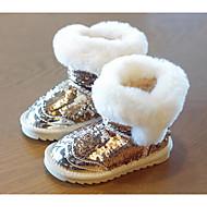 baratos Sapatos de Menina-Para Meninas Sapatos Couro Envernizado Inverno Botas de Neve Botas Lantejoulas para Bébé Dourado / Preto / Rosa claro / Botas Curtas / Ankle