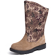 cheap Men's Boots-Men's Snow Boots Suede / Canvas Fall & Winter Sporty / Vintage Boots Keep Warm Knee High Boots Beige