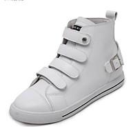 Kadın's Ayakkabı Nappa Leather Sonbahar Spor Ayakkabısı Düz Taban Günlük için Beyaz / Siyah