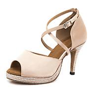 billige Sko til latindans-Dame Sko til latindans Sateng Sandaler / Høye hæler Krystalldetaljer / Glimmer Slim High Heel Dansesko Naken