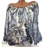 Kadın's Düşük Omuz Bluz Fırfırlı / Çiçek Tarzı / Desen, Çiçekli / Geometrik / Desen Temel Büyük Bedenler Beyaz XXXL