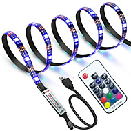 cheap -ZDM Waterproof 1m RGB Strip Lights 60 LEDs 5050 SMD 1M LED Strip Light / 17-Key Remote Controller RGB TV Background Light IP65